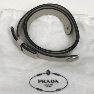 PRADA Grey Leather Belt w Bow & Logo Snap SZ S